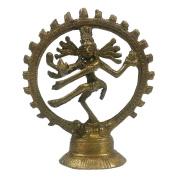 Golden Lord Shiva Statuette - 10cm Brass Statue of Shiva Nataraj