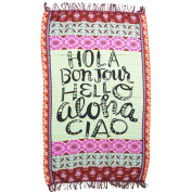 DCY Letters printed Beach Throw Tapestry Hippy Boho Polyester Tablecloth Beach Towel Square Yoga Mat