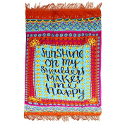 DCY Letters printed Beach Throw Tapestry Hippy Boho cotton Tablecloth Beach Towel Square Yoga Mat