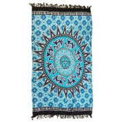 DCY Blue print Bedding Bedspread Wall Hanging polyester Tablecloth Indian Boho Beach Towel Decorative Wall Hanging Square Meditation Yoga Mat