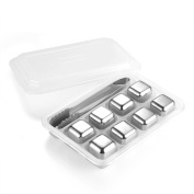 Mayshion Set of 8 Stainless Steel Ice Cubes,Whiskey Rocks,Reusable Chilling Stones for Wine,Whiskey,Beer,Beverage