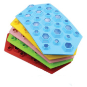 Touch Life 3D Diamond Shap Ice Cube Tray Cholocate Mould Flexible Food Grade Silicone,random colour , Orange or Skyblue