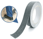 Marsway Anti Slip Treads Tape 5.5m Length x 2.5cm Width Grey Removable Adhesive Abrasive Sticker for Bathroom, Ramps, Stairs, Treads