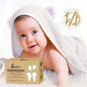 Super Soft Baby Organic Bamboo Fibres Hooded Towel | Absorbent, Hypoallergenic, Antibacteria & Free from Chemicals | Keeps Baby Dry and Warm | Sized for Infant and Toddler