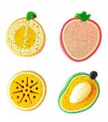 purifyou Premium Kids & Baby Bath Sponge, Set of 4 Fun Fruit Sponges