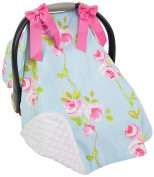 Caught Ya Lookin' Car Seat Cover, Blue with Pink Roses/White