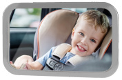 BiXon Safety Shatterproof Back-Seat Wide Convex Mirror for Infants, Easy Fitting to Keep Baby in Sight, Clearer View with Allowed Rotation, Silver