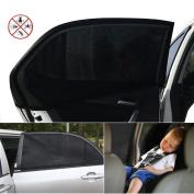 Northbear 2pcs Car Rear Window Sun Shade, Universal Sun Shades Sock Rear Side Mesh Curtain Car Window Baby Kid Protection Black