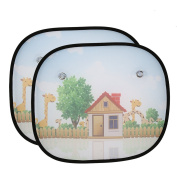 2pcs Car Window Sun Shades, Car Sunshade Protector with Cartoon Pattern Provides to Block Damaging UV Rays, Protect Your Kids and Pets in the Back Seat from Sun Glare and Heat