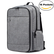 Baby Nappy Bag Backpack – Smart Travel Organiser with Large Capacity & Stroller Straps, Unisex for Mummy and Daddy, Grey