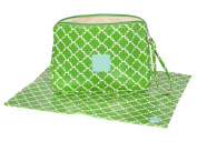 Posh Play - Luxury Nappy Clutch and Changing Pad Set - Green Geometric