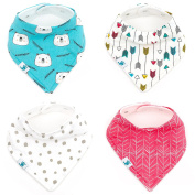 Bandana Baby Bib - Soft Organic Cotton with Fleece Backing - 4 Snap Bibs for Boys and Girls Packed in Gift Bag - Great Baby Shower Present - by Manana