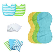 Green Sprouts Muslin Bibs and Burp Cloths Set made from Organic Cotton, Pink/Aqua/White