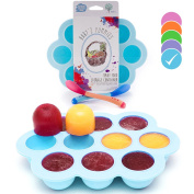 USA Standard- BPA Free | Homemade Baby Food & Frozen Breastmilk Freezer Storage Silicone Tray | Cover Lid | 45ml Portion Containers, Cups | Bonus 2 White-Hot Spoons | Makes a Great Gift! | Blue