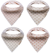 Habbies Baby Naturally Coloured Organic Cotton Drool Bibs, Unisex 4-Pack Baby Gift Set
