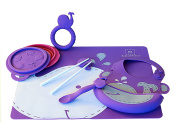 Marcus & Marcus WILLO THE WHALE Silicone Baby Feeding 6 Pack - Purple