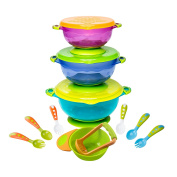 BABY FEEDING BOWLS with TODDLER UTENSILS - Ultimate Baby Feeding Set   Mash and Serve Bowl   Baby Utensils and Baby Bowls   Perfect Baby Shower Gift