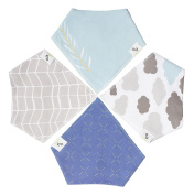 Bandana Drool Bibs, Thick Absorbent Organic Cotton, Unisex 4-Pack , Cute Baby Gift for Boys & Girls