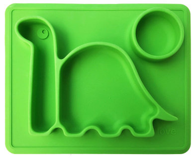 """Lilly's Love Silicone Placemat Dinosaur -""""THE DINO PAD"""" Divided Toddler Food Bowl - Mini (green)"""