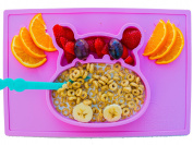 baby silicone placemat and plate tray for infants toddlers and kids - these portable hippo happy mats one piece bowl suctions and fits to most tables highchair non slip baby feeding FDA Approved .