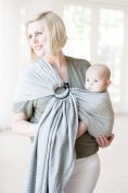 Moby Ring Sling Silver Streak - Great for On-The-Go, Fully-adjustable baby sling, Great for newborns - toddlers
