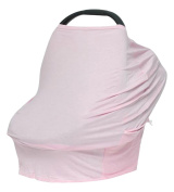 EXCLUSIVE Design - Multi Use 4 in 1 Baby Car Seat Cover - The Best Baby Shower Gift - Citi Babies Cover is also a Shopping Cart Cover, Nursing Cover, & High Chair Cover. New Mom Gift in Solid Pink.