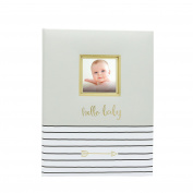 Pearhead Hello Baby Keepsake Memory Book and Photo Journal, Grey
