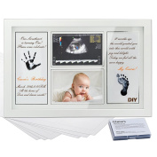 """Gimars CPSC Glass 2 Sheet 4x6"""" Sonogram Handprint & Footprint Photo Frame Kit with Ink Pad for Boys and Girls, Newborn Baby Shower Gifts for Registry, Memorable Keepsakes for Room Wall or Table Decor"""