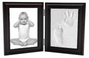 Baby Hand Print and Footprint Air Drying Stone Clay Bi-Fold Quality Wood with Glass Photo Frame Gift Set