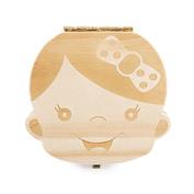 TIAMALL Cute Personality Baby Teeth Box Wooden Tooth Album Keepsake Souvenir Box Organiser Deciduous Souvenir Box