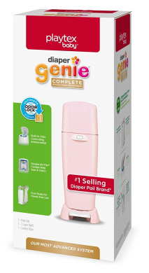 Nappy Genie Playtex Fully Assembled Complete Nappy Pail with Odour Lock Technology & Refill, Pink