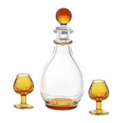 MyTinyWorld Dolls House Miniature Handmade Amber Glass Decanter With 2 Glasses