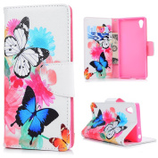 Sony Xperia XA1 Case,Badalink Butterfly Pattern PU Leather Flip Folio Wallet Case Inlaid Inner Rubber Kickstand Magnetic Closure TPU Bumper View Standing Full Body Protection for Sony Xperia XA1