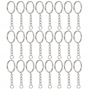 Willbond 50 Pieces Key Ring Key Chain Ring Split Rings Round Edged Keyrings with 4 Link Chain, 2.5cm Diameter
