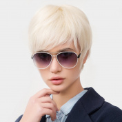 Topwigy Womens Short Human Hair . Cool Straight Mixed Human Hair Natural Replacement Wigs