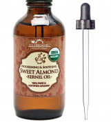 New_US Organic Sweet Almond Kernel Oil, USDA Certified Organic,100% Pure & Natural, Cold Pressed Virgin, Unrefined in Amber Glass Bottle w/ Glass Eyedropper for Easy Application (4 oz