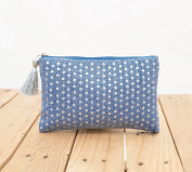 Indigo pouch, stone washed clutch, bridesmaid purse, silver sequin bag , bohemian, size 13cm x 23cm