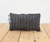 Charcoal pouch, stone washed clutch, bridesmaid purse, silver sequin bag , bohemian, size 13cm x 23cm