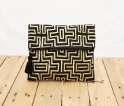 Mola purse, Black and gold colour bag, foldover clutch, embroidered, 25cm X 20cm