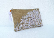 Linen embroidered pouch, crochet pattern, 13cm X 23cm