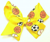 13cm Soccer, Baseball & Basketball Sports Hair Clip Barrette Bow for Girls - Yellow