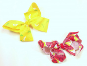 Yellow Dragonfly & Watermelon Set of Two 13cm Hair Clip Barrette Bows for Girls