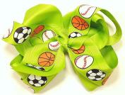 13cm Soccer, Baseball & Basketball Sports Hair Clip Barrette Bow for Girls - Green