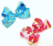 Turquoise Blue Dragonfly & Watermelon Set of Two 13cm Hair Clip Barrette Bows for Girls