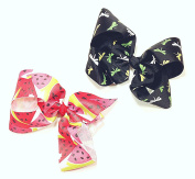 Black Dragonfly & Watermelon Set of Two 13cm Hair Clip Barrette Bows for Girls