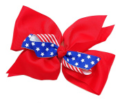 15cm American Flag Patriotic Fourth Of July Red White & Blue Hair Clip Barrette Bow for Girls