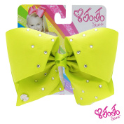 JoJo Siwa Signature Collection Hair Bow with Rhinestones - Lemon Lime With Sticker Patch Set Included