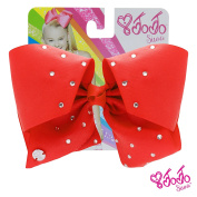 JoJo Siwa Signature Collection Hair Bow with Rhinestones - Red With Sticker Patch Set Included