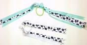 Set of Two Soccer Sports Ribbons Hair Elastic Ponytail Holders for Girls - Seafoam Green & White