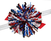 WD2U July 4th Tinsel Explosion Red White Blue Patriotic HairBow Stretch Headband